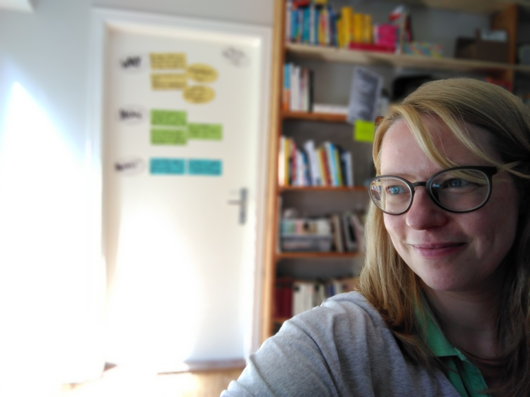 Here I am, in my new office in the new house